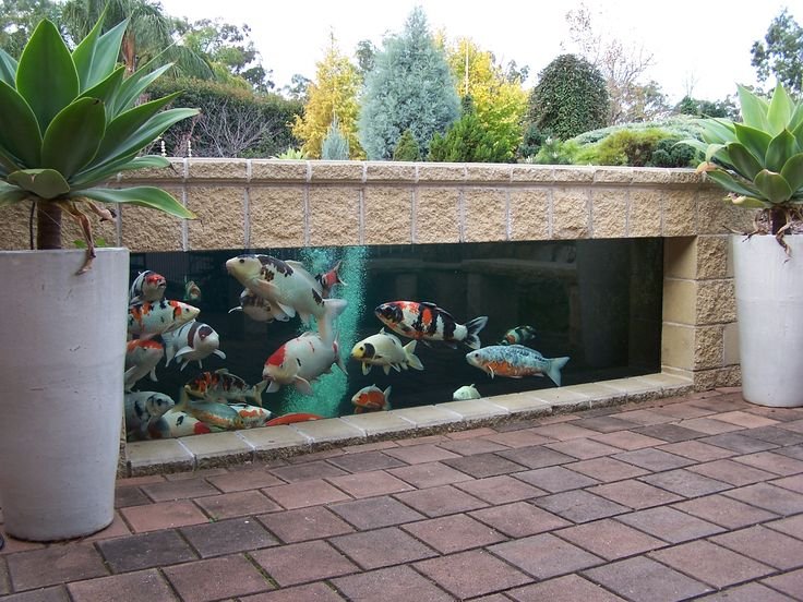 Ponds don't always have to be in-ground - this koi pond lets you actually observe them under the water, and it looks like the stone retaining wall might work as seating.                                                                                                                                                                                 More