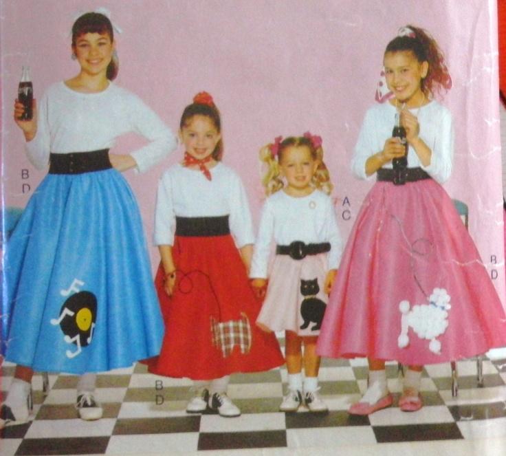 Halloween Costume Pattern Poodle Skirt Top Children Girls Butterick 4113