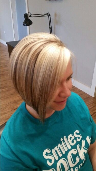 Blonde Highlights Chocolate Lowlights Angled Bob Short