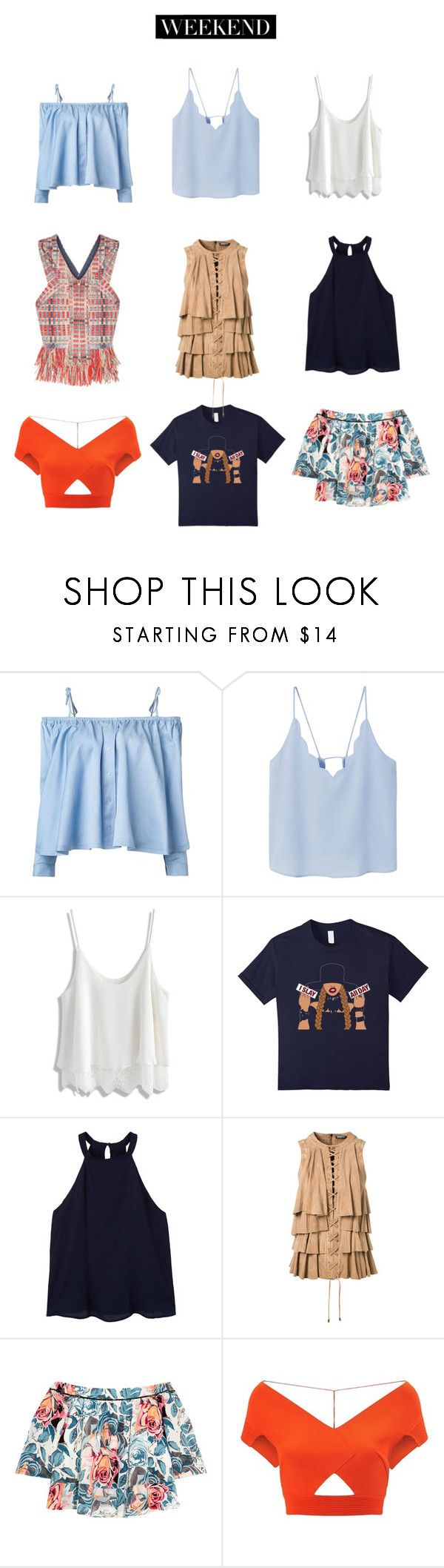 """""""Tops for the Weekend"""" by milanopradalover ❤ liked on Polyvore featuring Sandy Liang, MANGO, Chicwish, Balmain, Elizabeth and James, Roland Mouret and Tory Burch"""