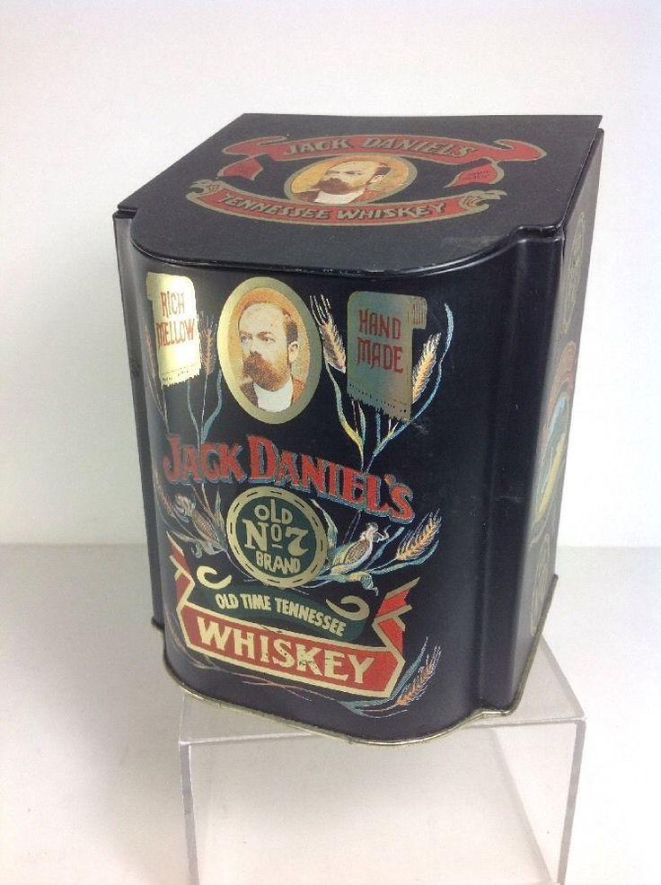 "5"" Tall Vintage Jack Daniels Whiskey Old No.7 Metal Tin w Hinged Lid"