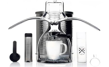 Unplugged ROK Espresso Maker: energy efficient, uses coffee grounds which are less wasteful than pods
