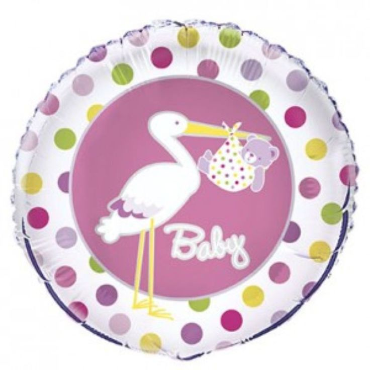 PINK FOR GIRL STORK DESIGN BABY SHOWER PARTY 18inch FOIL BALLOON