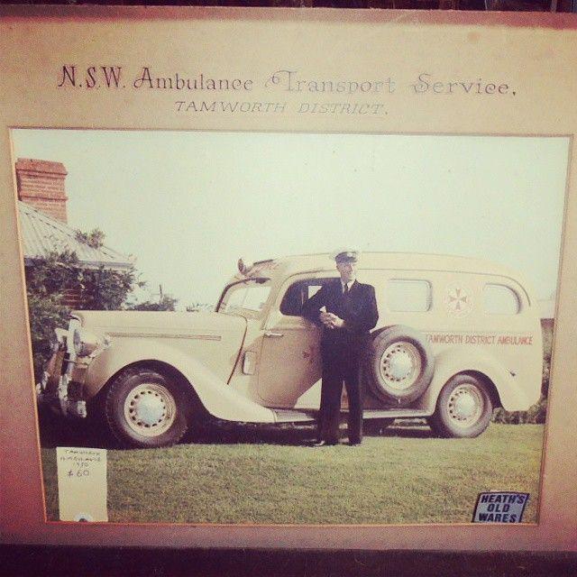 1950s picture of a vintage NSW Ambulance Service Tamworth NSW.  #vintagecar #ambulance #tamworth #vintagewagon #vintageambulance #vintagevehicle #dodgetruck #ambulancemuseum #internationalar10  (at www.heathsoldwares.com.au)