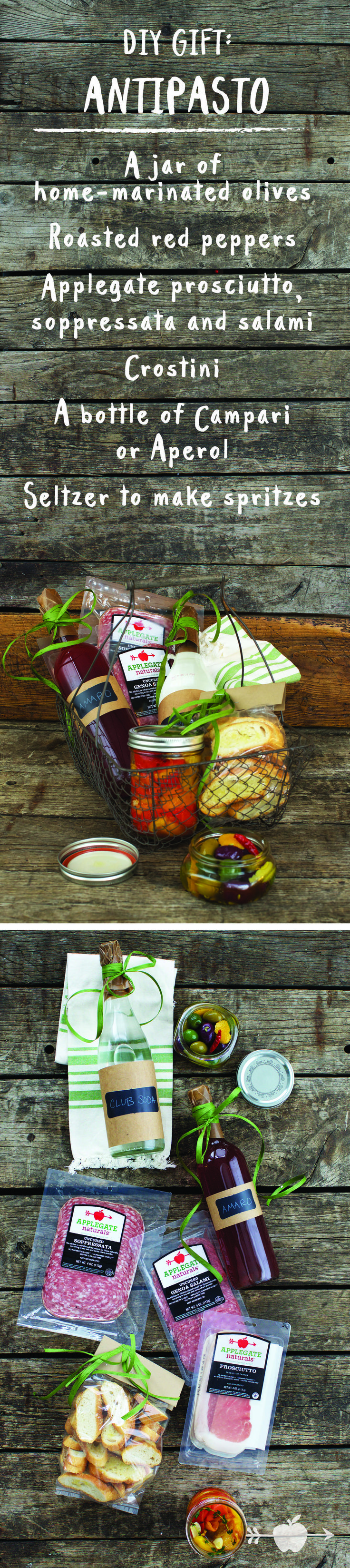 #DIY Gift Basket: The Instant Antipasto. Click to see our delicious recipes for marinated olives and roasted red peppers, and learn how to put the gift together!
