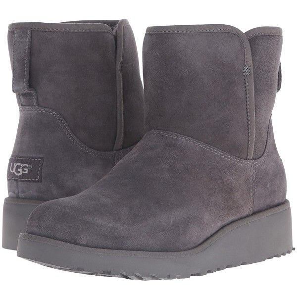 UGG Kristin (Grey) Women's  Boots ($150) ❤ liked on Polyvore featuring shoes, boots, mid-calf boots, slim boots, mid calf boots, platform boots, ugg australia boots and grey fur boots