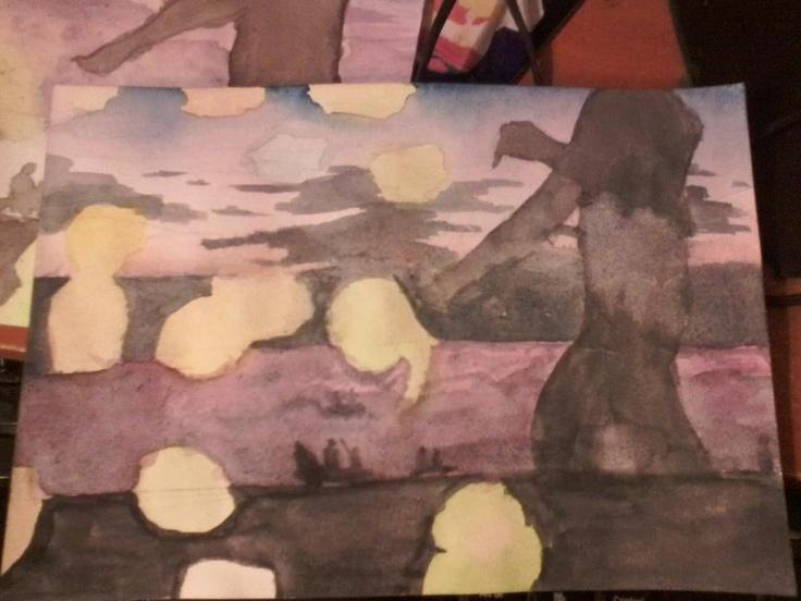 pasiaje en acuarela, pintado de una foto