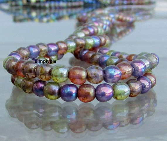 Opal Picasso Mix Czech Round Beads 4mm 50 Beads Per by simplypie