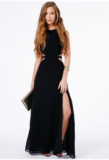 Missguided - Anthea Cut Out Split Maxi Dress In http://www.missguidedus.com/anthea-cut-out-split-maxi-dress
