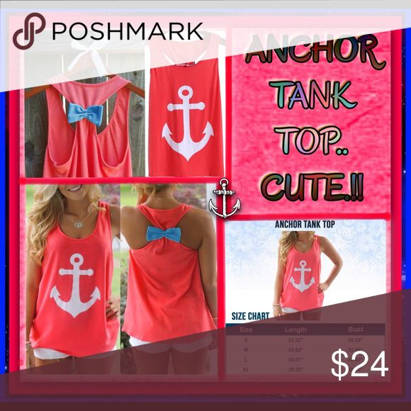 ANCHOR TANK TOP 🌸 ANCHOR TANK TOP 🌸 GORGEOUS COLOR WITH CUTE BOW IN THE BACK... 🌸 Tops Tank Tops