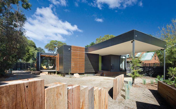 Exterior view of custom modular house at Merricks Beach, Victoria