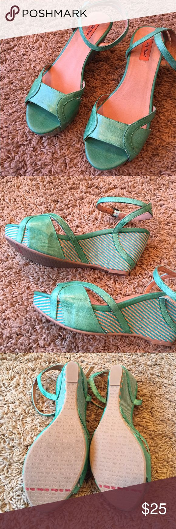 Miz Mooz Emerald green wedges Approx. Heel height: 3″ with 1″ platform (comparable to a 2″ heel). Adjustable strap with buckle closure. Miz Mooz Shoes Wedges