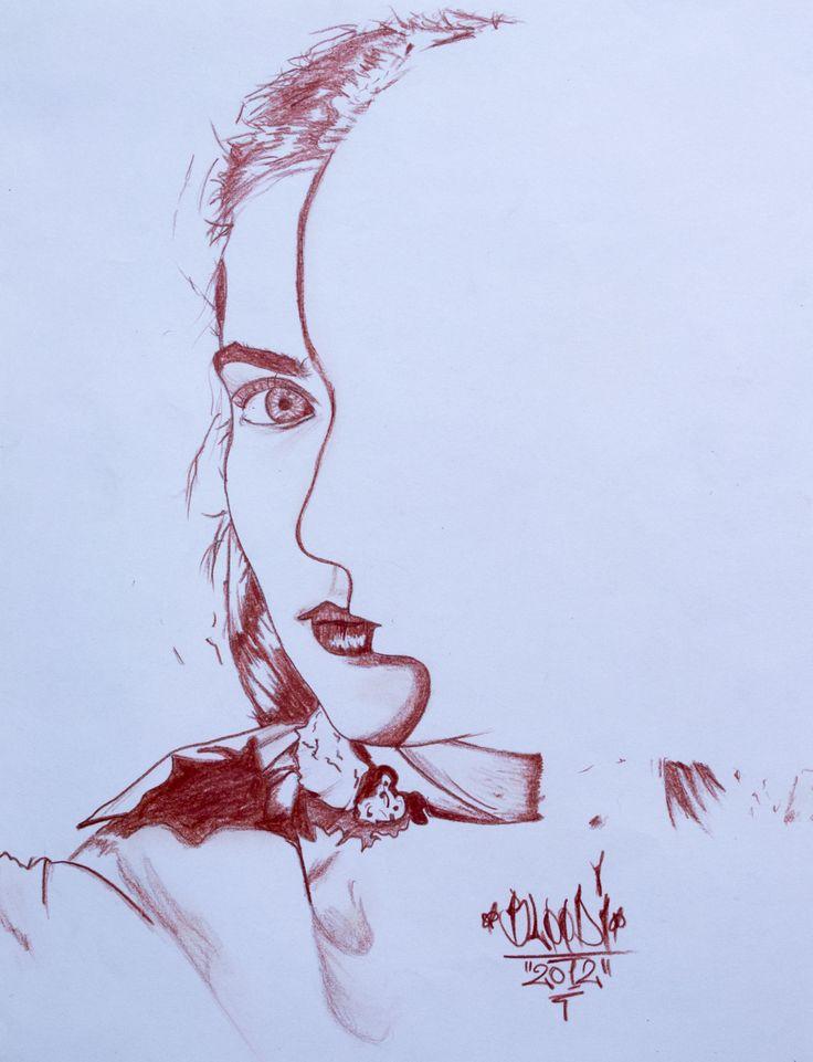 Ilustración de doble sentido, 25x35cm Técnica: Sanguine