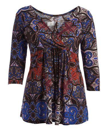 Blue & Black Arabesque Surplice Tunic - Plus #zulily #zulilyfinds