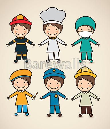 """""""Illustration of professions, police icon, doctor, firefighter, chef, painter, engineer, vector illustration"""" - Classroom decor posters and prints available at Barewalls.com"""