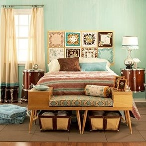 The bench at the end of the bed looks like two old thrift store find end tables, circa 1950 ish. Genius. Very time period for your home.