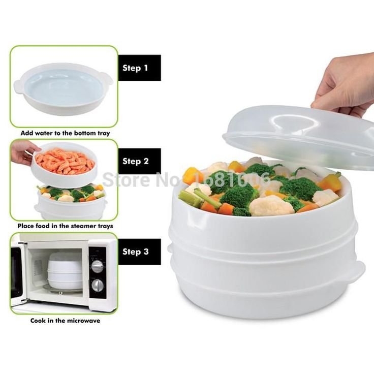 2 Tier Microwave Vegetable Steamer with Lid,BPA Free,White,suit small kitchen or busy cook K112