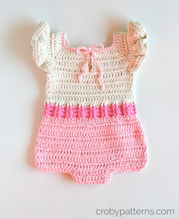 Free Crochet Pattern For Baby Romper : Croby Patterns Crochet Baby Romper Pattern ? Pink ...