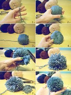 Como fazer um pompom enrolando na mão