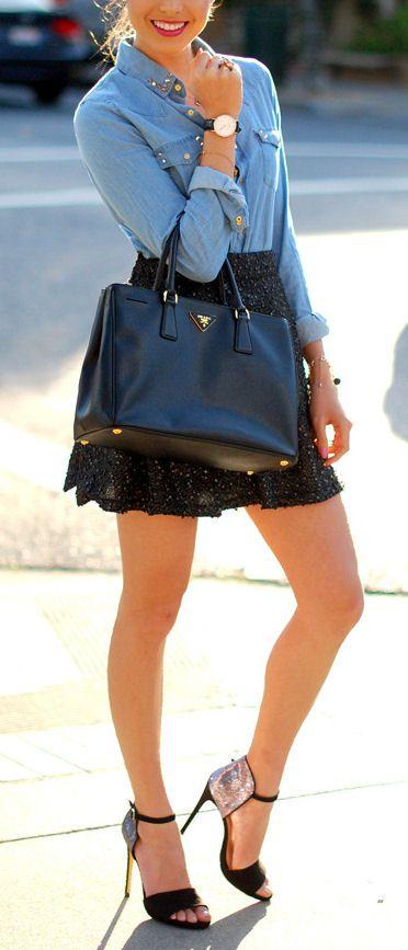 Chambray + Cute Gold Dotted Skirt & Glitter Heels <3 L.O.V.E