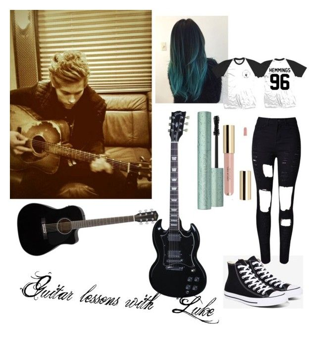 Guitar lessons with Luke by sabrina-carreiro on Polyvore featuring polyvore, fashion, style, WithChic, Converse and clothing
