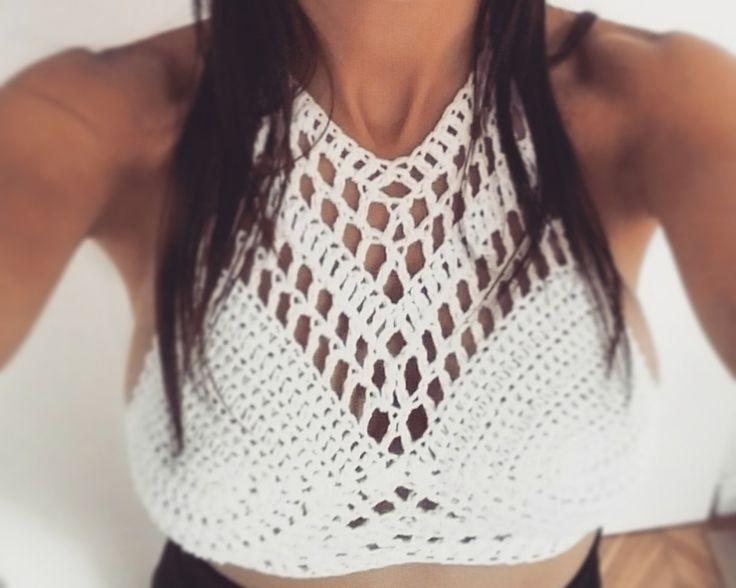 Crop Top Crochet - Tejido Artesanal !!! - $ 310,00