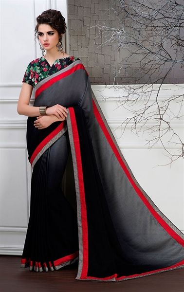 Picture of Gray and Black Color Saree With Beautiful Plain Pallu