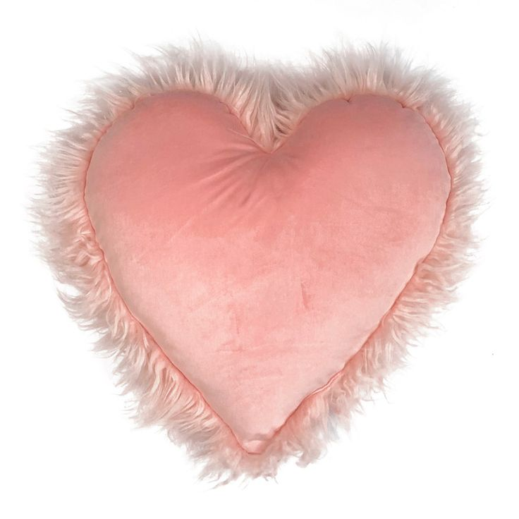 Celebrate Valentines Day Together Heart Shaped Faux Fur Plush Back Throw Pillow
