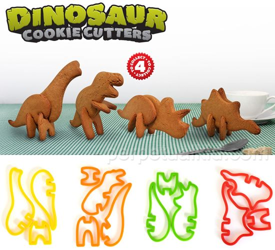 3D Dinosaur Cookie Cutters - cut out cookie dough, bake in the oven, then slot the cookies together to make an edible dinosaur that will stand up on your plate. Pack includes cutters for the body parts required to bake a whole dinosaur - Triceratops, Stegosaurus, Brachiosaurus or T-Rex.