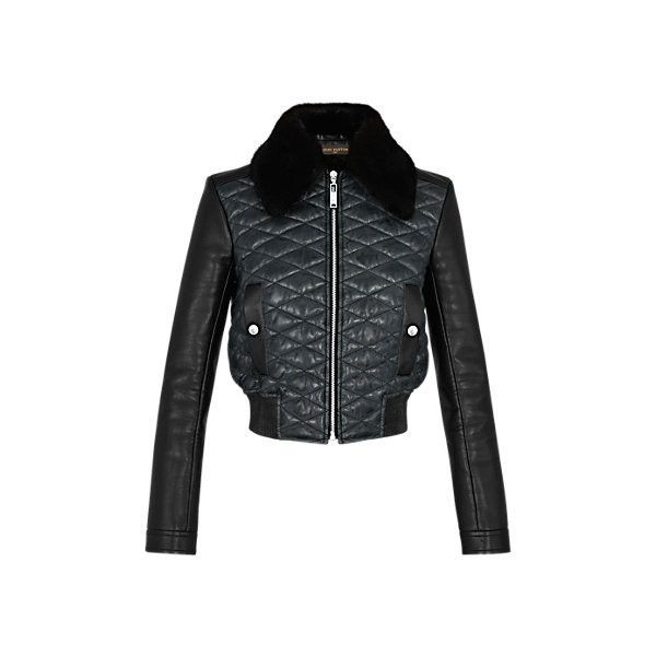 Quilted Lambskin Bomber Jacket With Mink Collar via Polyvore featuring outerwear, jackets, lamb leather jacket, quilted bomber jacket, lambskin leather jackets, lambskin jacket and flight jacket