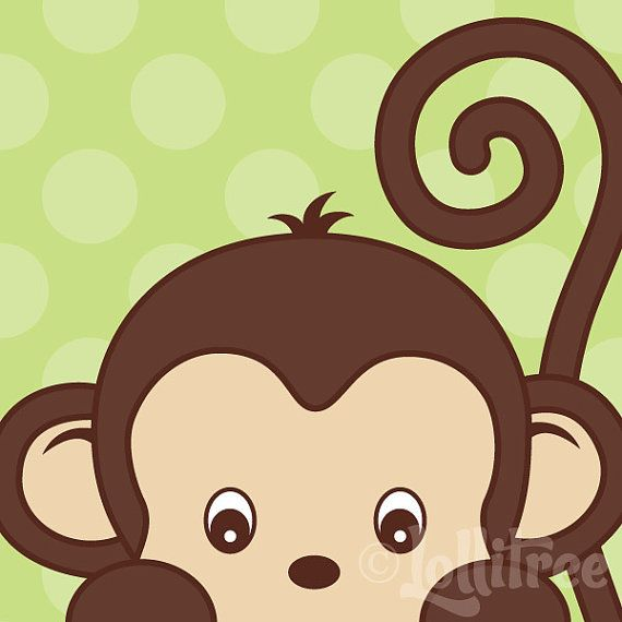 Peekaboo Monkey Art Print for Nursery or Bedroom by Lollitree