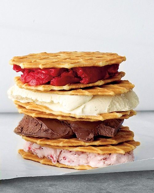 Ice Cream Waffle Sandwich     Ingredients     1 scoop ice cream, gelato, or sorbet, softened   2 waffle cookies     Directions    1. Spoon ice cream onto a waffle cookie. Top with another cookie and press together lightly.     Serve immediately or wrap in waxed paper and freeze on a baking sheet, up to 1 day.