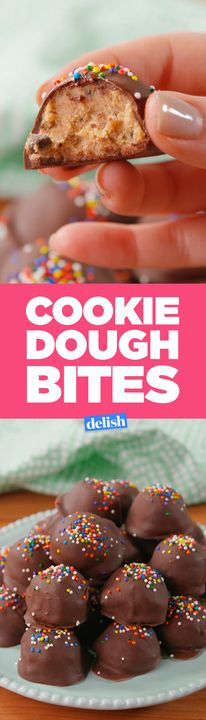 Chocolate chip cookie fans, these Cookie Dough Bites are your reason to live. Get the recipe from Delish.com.