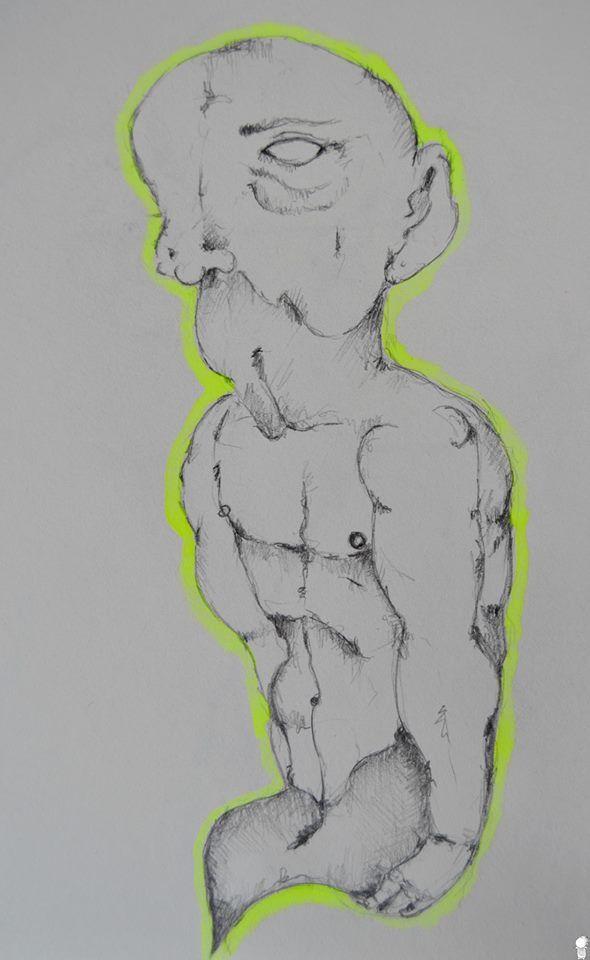 """~ L'uomo nero. """" L'uomo nero è un demone, ha l'aspetto di un uomo o di un fantasma ma nero, non ha gambe e dalla vita in giù sfuma in una punta.""""  ▶Schizzo. ▶Acquarello su carta.  °ArtBook.  #Art #Passion #Life #ArtEli"""