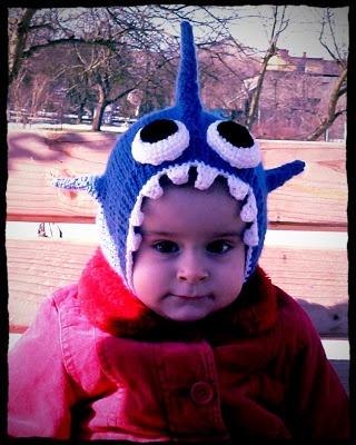 knitted kids shark hat