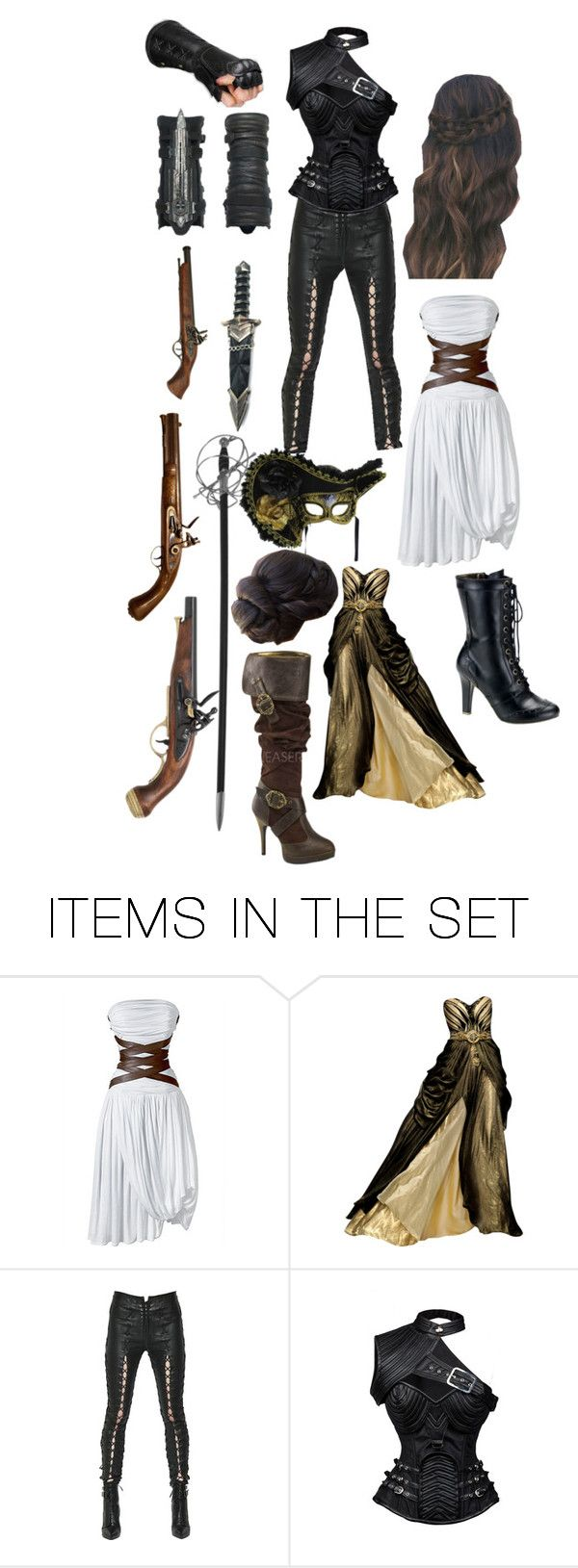 """female musketeer / assassin"" by brittrose421 ❤ liked on Polyvore featuring art"