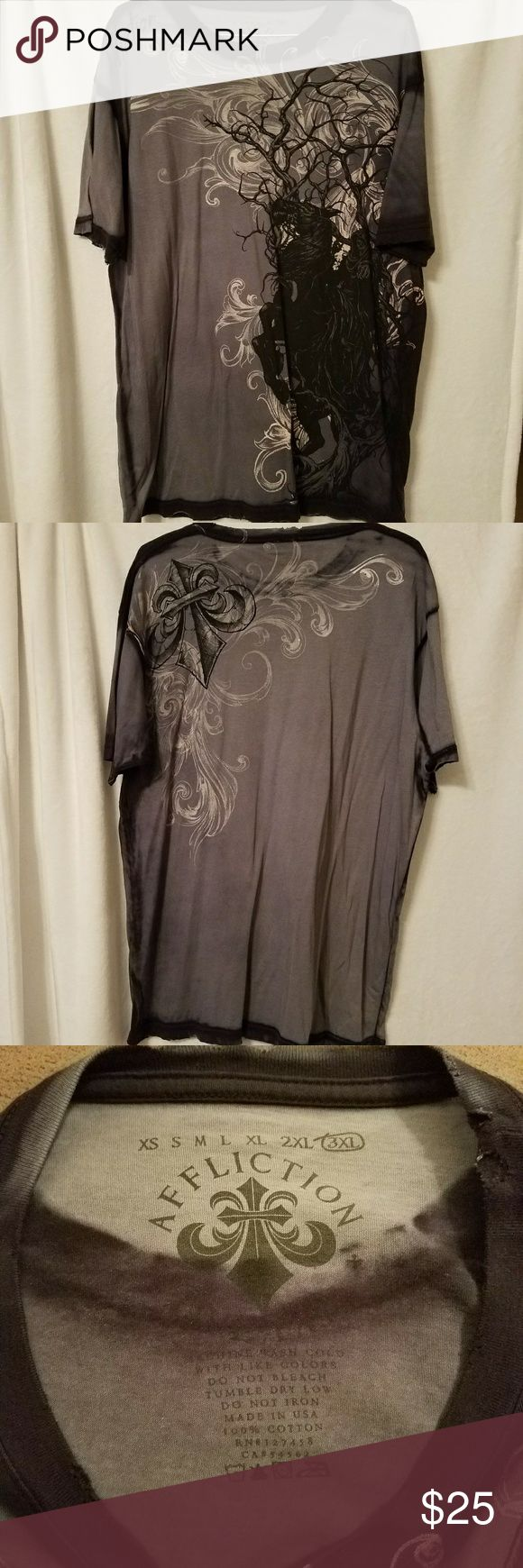 Affliction Men's Gray T-shirt 3XL Affliction Men's Gray T-shirt.  Size 3XL.  Shirt is black,  gray,  tan.  100% cotton. Affliction Shirts Tees - Short Sleeve