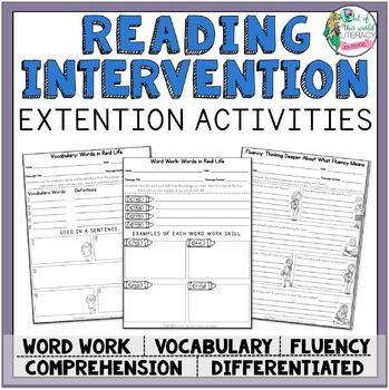 *** The purpose of this resource is for teachers, tutors, school volunteers, and home school parents to extend the learning from The Reading Intervention Program. *** Each page can be used over and over again with any of the intervention passages!