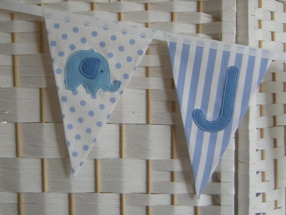 Personalised banner bunting. Baby boy. by patchworkpawprint