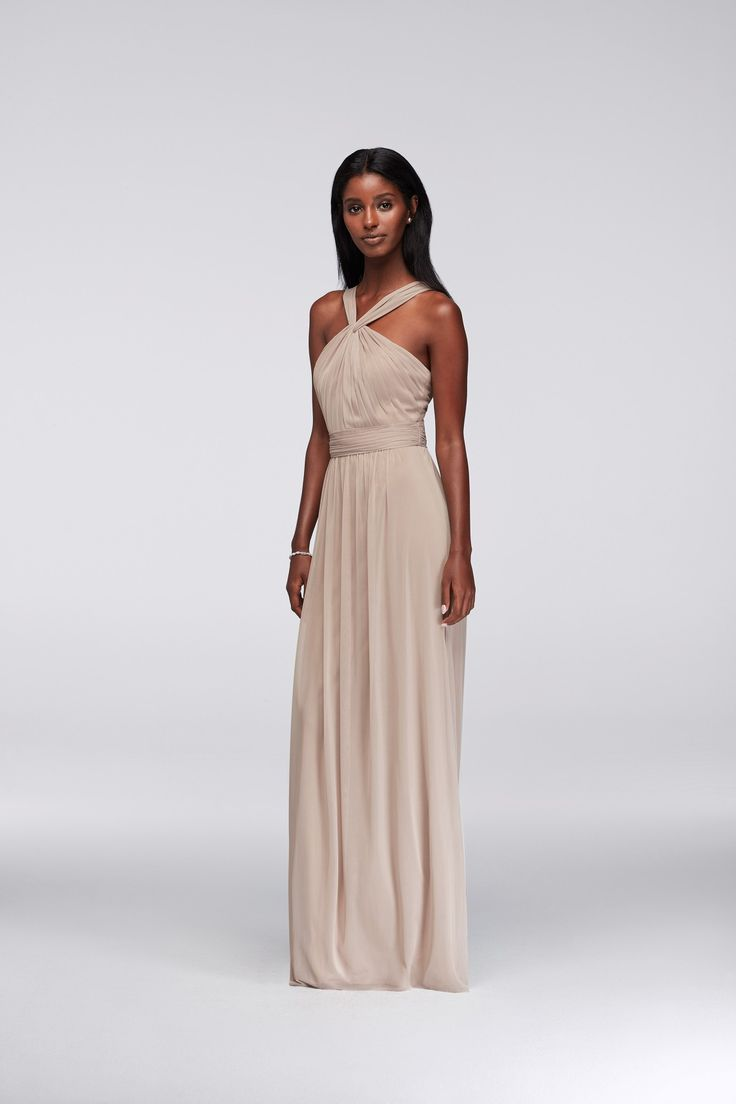 9 best jenny yoo vow to be chic images on pinterest a wedding taupe y neck long mesh bridesmaid dress by davids bridal ombrellifo Choice Image