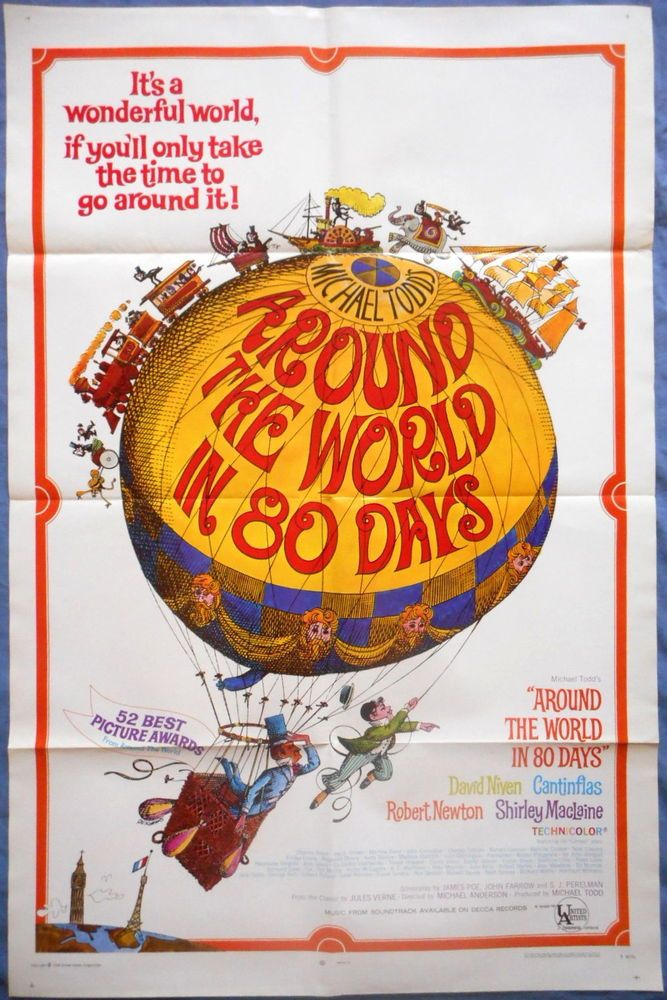 AROUND THE WORLD IN 80 DAYS MOVIE POSTER David Niven Cantinflas Oscar Best 1957