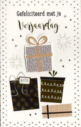 Gefeliciteerd met je verjaardag!    Stijlvolle luxe verjaardagskaart met goudfolie