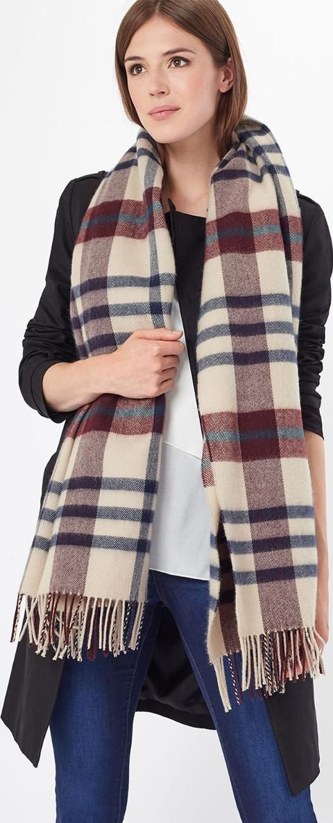 jPhase Eight Joni Check Scarf. A classic checked scarf with tassel hems perfect for warming up on a cold day. #Phaseeight #Scarves #Wraps #checks #Women #fashion #fallwinter1617 #winter16  #fashion #lifestyle #style