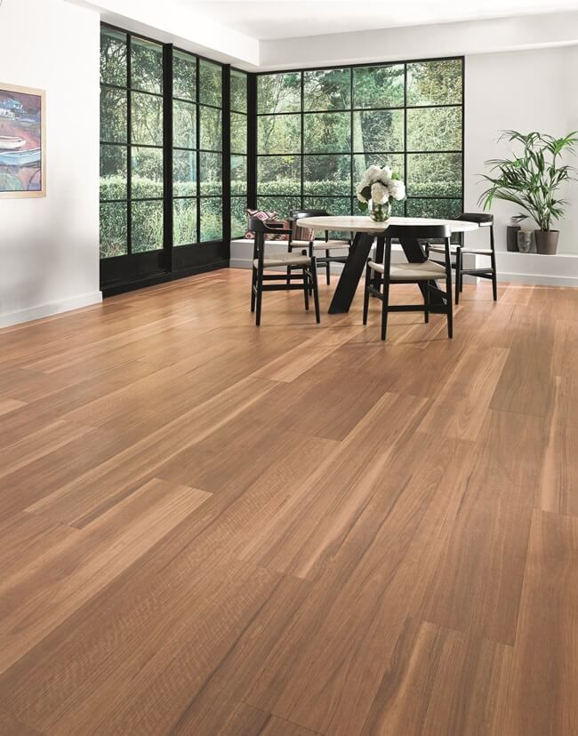 Karndean LooseLay Vinyl Flooring Range Mountain Spotted Gum Natural vinyl  colour with black grills and white walls