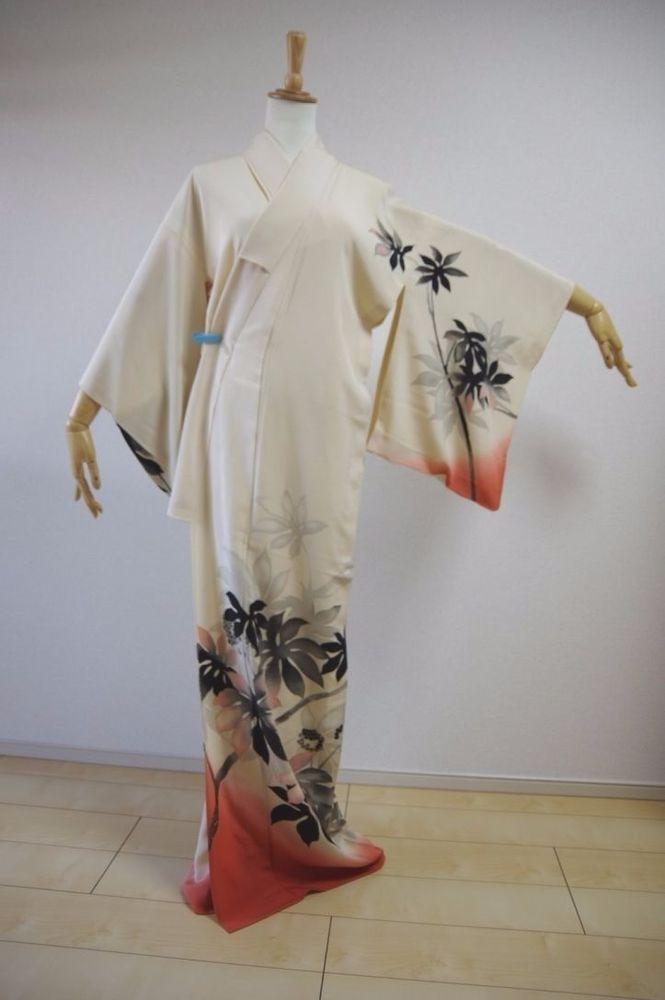 Kimono Dress Japan Geisha Japanese costume used Vintage Hitoe KDJM-B0013