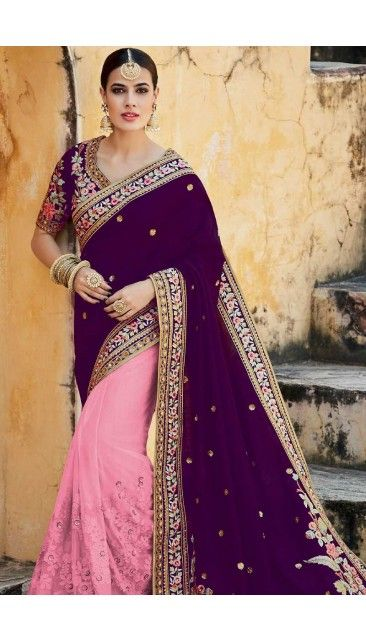 Purple And Pink Net And Silk Saree With Tusser Art Silk Blouse - DMV10272