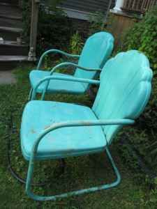 Metal outdoor chairs. These were HOT on bare thighs in the summer!  Grandma had these.  Just bought one for my yard at a garage sale!