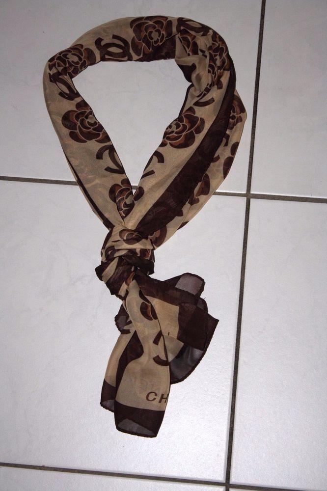 Chanel Tuch 150cm x 50cm  Luxus Schal Halstuch Damen Umhang Edel Beige Blumen