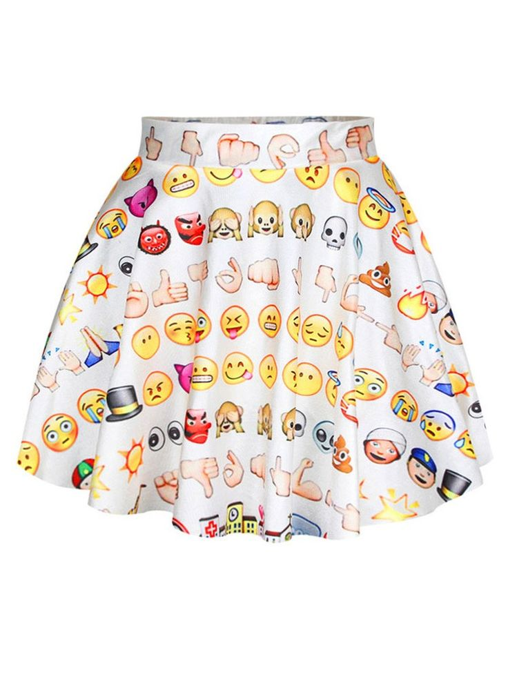 Women Fashion Wild Cute Emoji Printed High-Waisted White Mini Skirt
