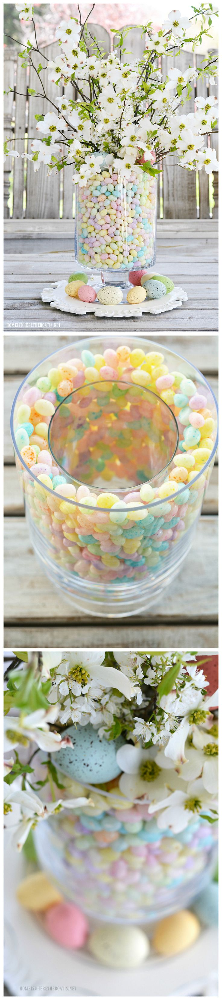 Easy Easter table centerpiece of jelly beans, dogwood and plum tree blossoms | homeiswheretheboatis.net #Easter #centerpiece #spring